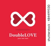 infinity love two heart logo... | Shutterstock .eps vector #484499530