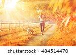 an autmun landscape with a... | Shutterstock . vector #484514470