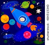 stars and planets  in space    Shutterstock .eps vector #484515340