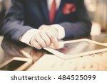 close up of modern businessman... | Shutterstock . vector #484525099