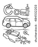 alphabet coloring page   c | Shutterstock .eps vector #484532203