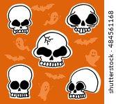 skulls. halloween. vector... | Shutterstock .eps vector #484561168