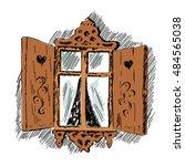 sketch of carved wooden... | Shutterstock .eps vector #484565038