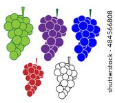 bunch of grapes flat color icon   Shutterstock .eps vector #484566808