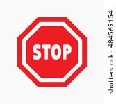 red stop sign isolated on white ... | Shutterstock .eps vector #484569154