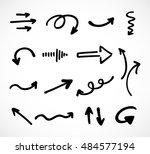 hand drawn arrows  vector set | Shutterstock .eps vector #484577194