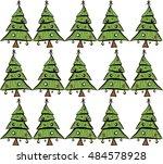 christmas tree pattern  | Shutterstock .eps vector #484578928
