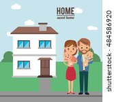 home house building and family...   Shutterstock .eps vector #484586920