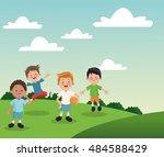 group of happy boys cartoon kids | Shutterstock .eps vector #484588429