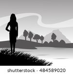 grass landscape and woman... | Shutterstock .eps vector #484589020