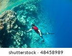 underwater life. man in red... | Shutterstock . vector #48458989