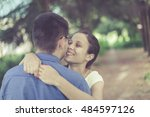 happy young couple in love... | Shutterstock . vector #484597126
