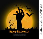 happy halloween design with... | Shutterstock .eps vector #484601548