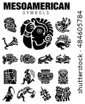 set of mesoamerican symbols in... | Shutterstock .eps vector #484605784