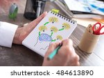 human brain ideas concept drawn ... | Shutterstock . vector #484613890