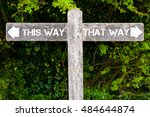wooden signpost with two... | Shutterstock . vector #484644874