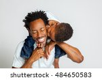 an african american boy on the... | Shutterstock . vector #484650583