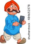 mobile phone user in rural india   Shutterstock .eps vector #484652578