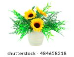 yellow fabric flowers in vase... | Shutterstock . vector #484658218