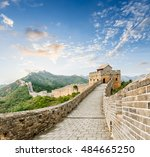 the famous great wall of china... | Shutterstock . vector #484665250