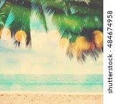 summer beach  coconut palm... | Shutterstock . vector #484674958