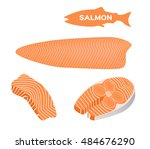red fish salmon for sushi food ... | Shutterstock .eps vector #484676290