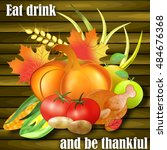 greeting card for thanksgiving... | Shutterstock .eps vector #484676368