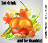 greeting card for thanksgiving... | Shutterstock .eps vector #484676389