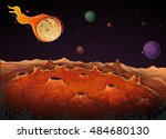 comet and other planets in... | Shutterstock .eps vector #484680130