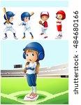 kids in baseball uniform in the ...   Shutterstock .eps vector #484680166