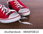 old worn canvas shoes on a... | Shutterstock . vector #484693813