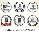 anniversary golden retro... | Shutterstock .eps vector #484699633