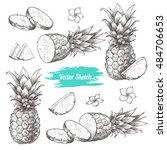 vector pineapples hand drawn... | Shutterstock .eps vector #484706653
