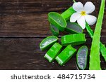 close up of aloevera on wet... | Shutterstock . vector #484715734