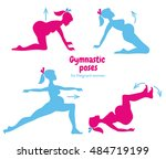gymnastic poses for pregnant... | Shutterstock . vector #484719199