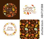 vector set of autumn greeting... | Shutterstock .eps vector #484719388