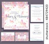 set of wedding cards or... | Shutterstock .eps vector #484729420