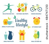 healthy life style in flat... | Shutterstock .eps vector #484747150