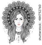 tribal fusion boho diva.... | Shutterstock .eps vector #484752760