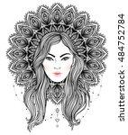 tribal fusion boho diva....   Shutterstock .eps vector #484752784