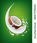fresh coconut milk splash | Shutterstock .eps vector #484755043