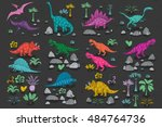 dinosaur cartoon collection set ... | Shutterstock .eps vector #484764736