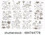dinosaur cartoon collection set ... | Shutterstock .eps vector #484764778