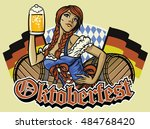 oktoberfest girl with beer and...