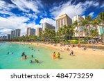 waikiki  oahu  hi   august 27 ...   Shutterstock . vector #484773259