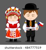 czechs in national dress with a ... | Shutterstock .eps vector #484777519