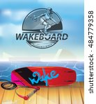 wakeboard reversible winch.... | Shutterstock .eps vector #484779358