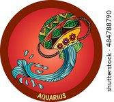 aquarius sign in zentangle   | Shutterstock .eps vector #484788790