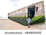 arromanches les bains beach... | Shutterstock . vector #484800400