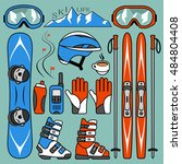 set of skiing and snowboarding | Shutterstock .eps vector #484804408